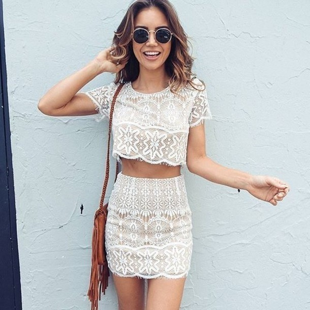 mini skirt with crochet top