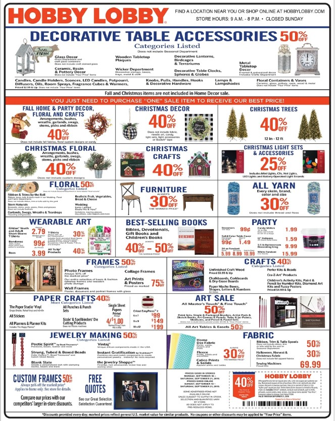 Hobby Lobby Weekly Ad (9/15/19 - 9/21/19) Early Preview