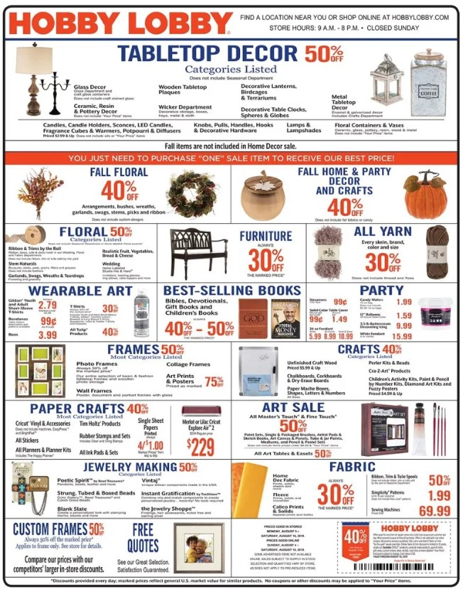 Hobby Lobby Weekly Ad (8/4/19 - 8/10/19) Early Preview